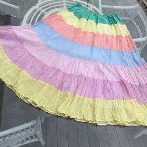 Vintage gauze tiered midi skirt L - XL